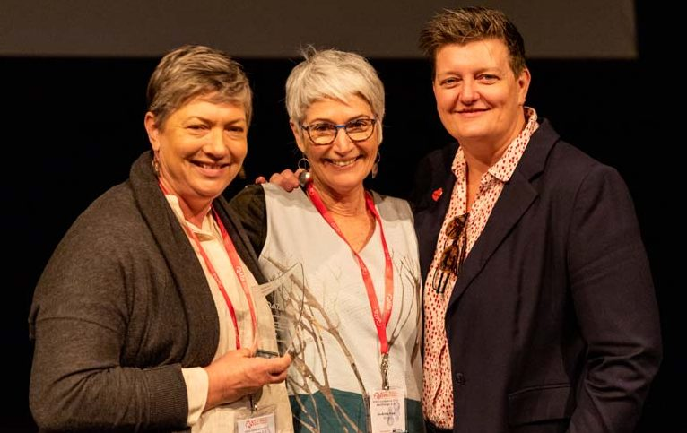 2019 QATA Lifetime Membership Award recipient, Janelle Williams; QATA President Jo Hine and Mahoney Archer at the QATA Exchange 2.0 conference.